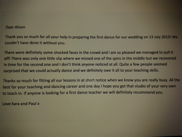First Wedding Dance Testimonial